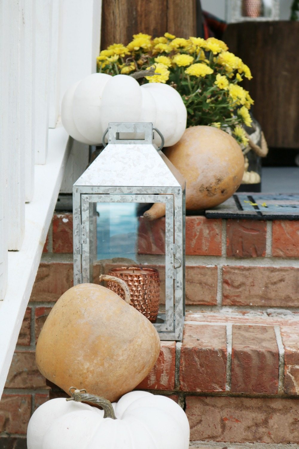 Wide steps with fall decor