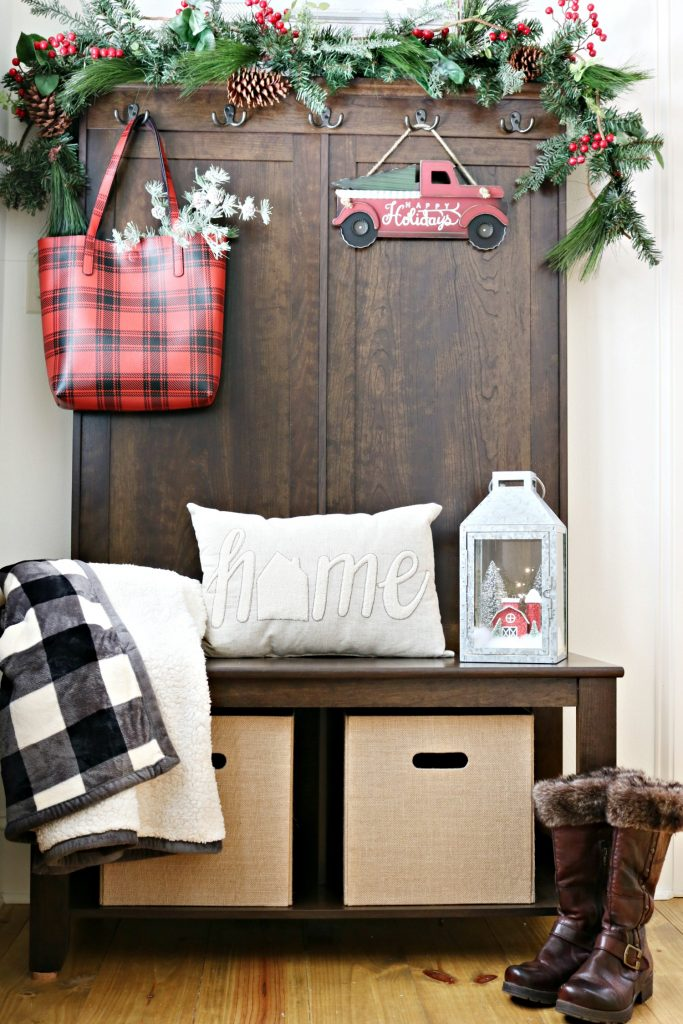 Add seasonal touches to the entry perfect for holidays