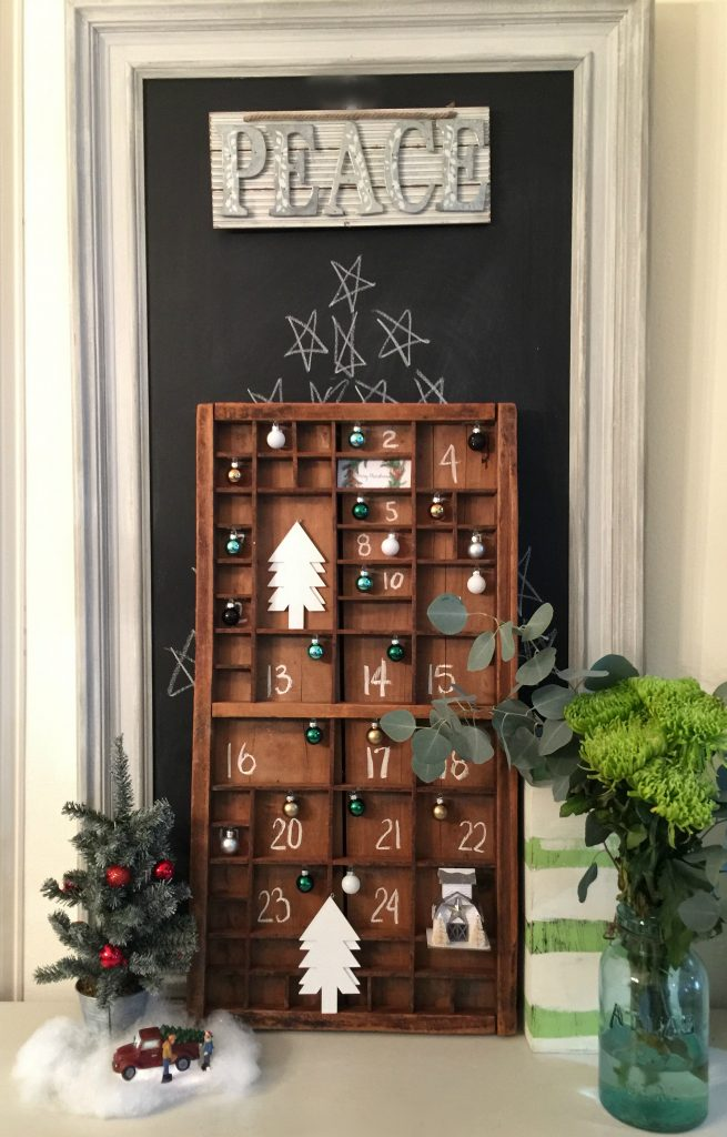 Advent calendar in a printers tray perfect farmhouse look