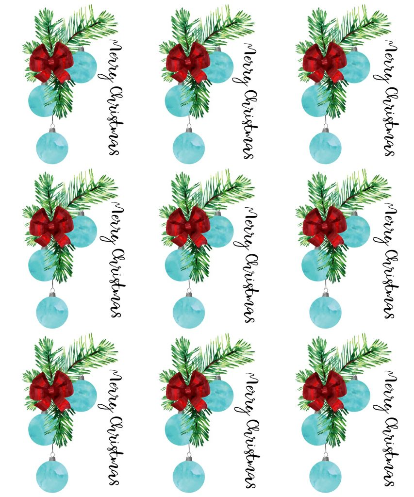 Merry Christmas Red bow Blue ornament
