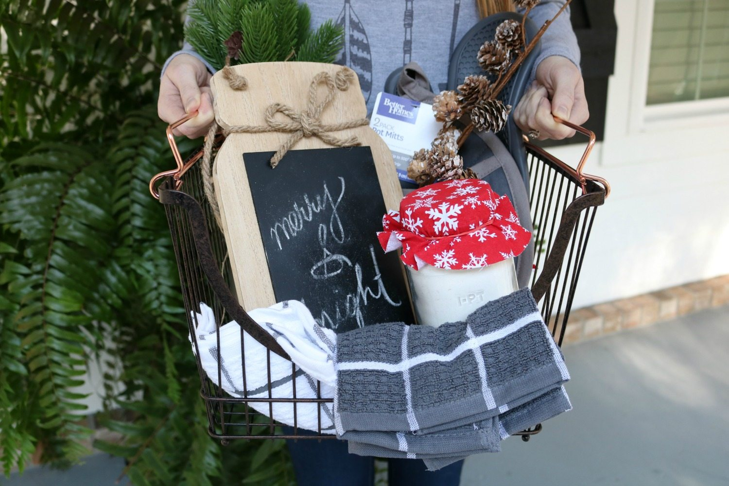 Basket filled with baking items for Christmas