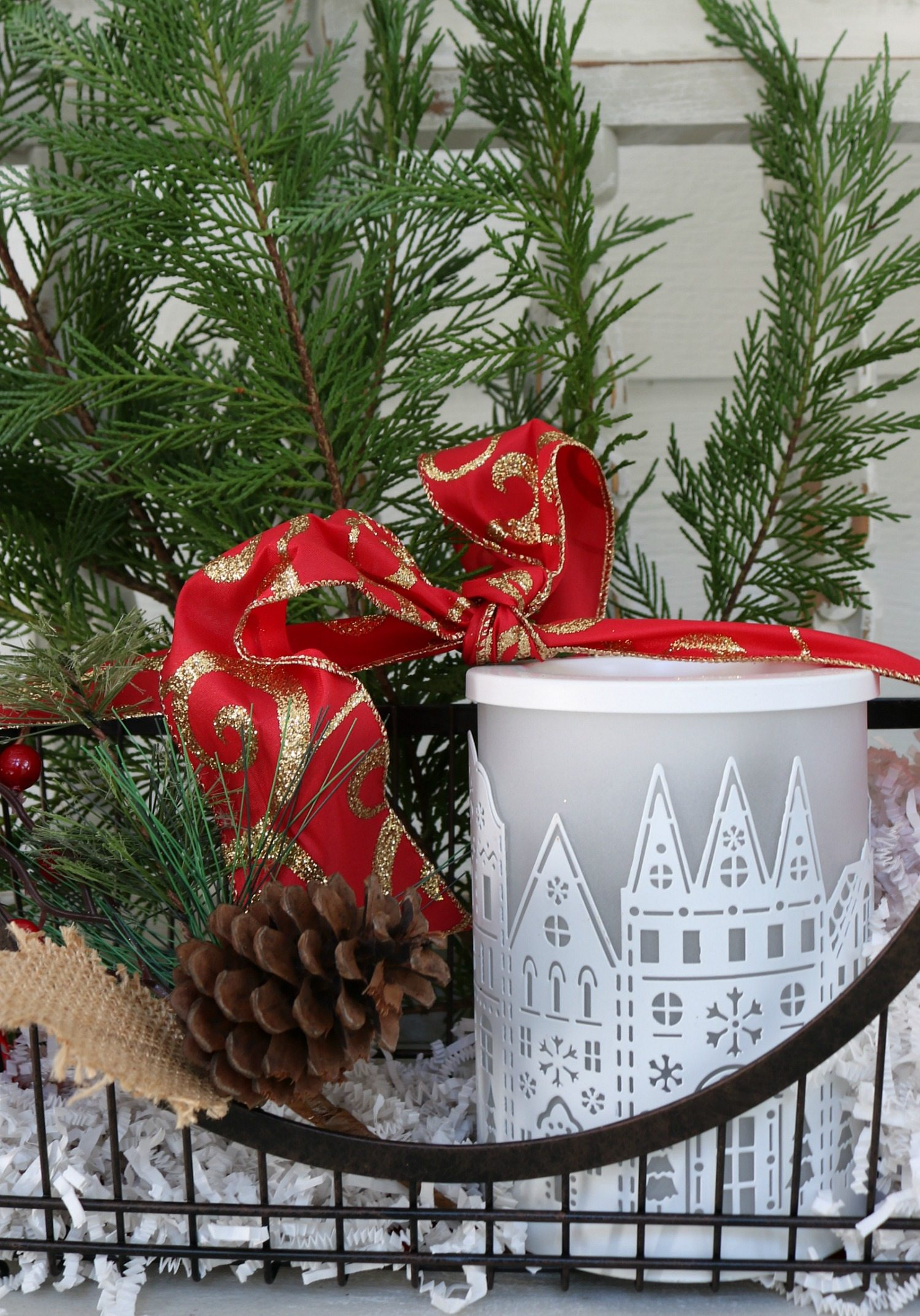 Basket filled with wax warmer for gift giving