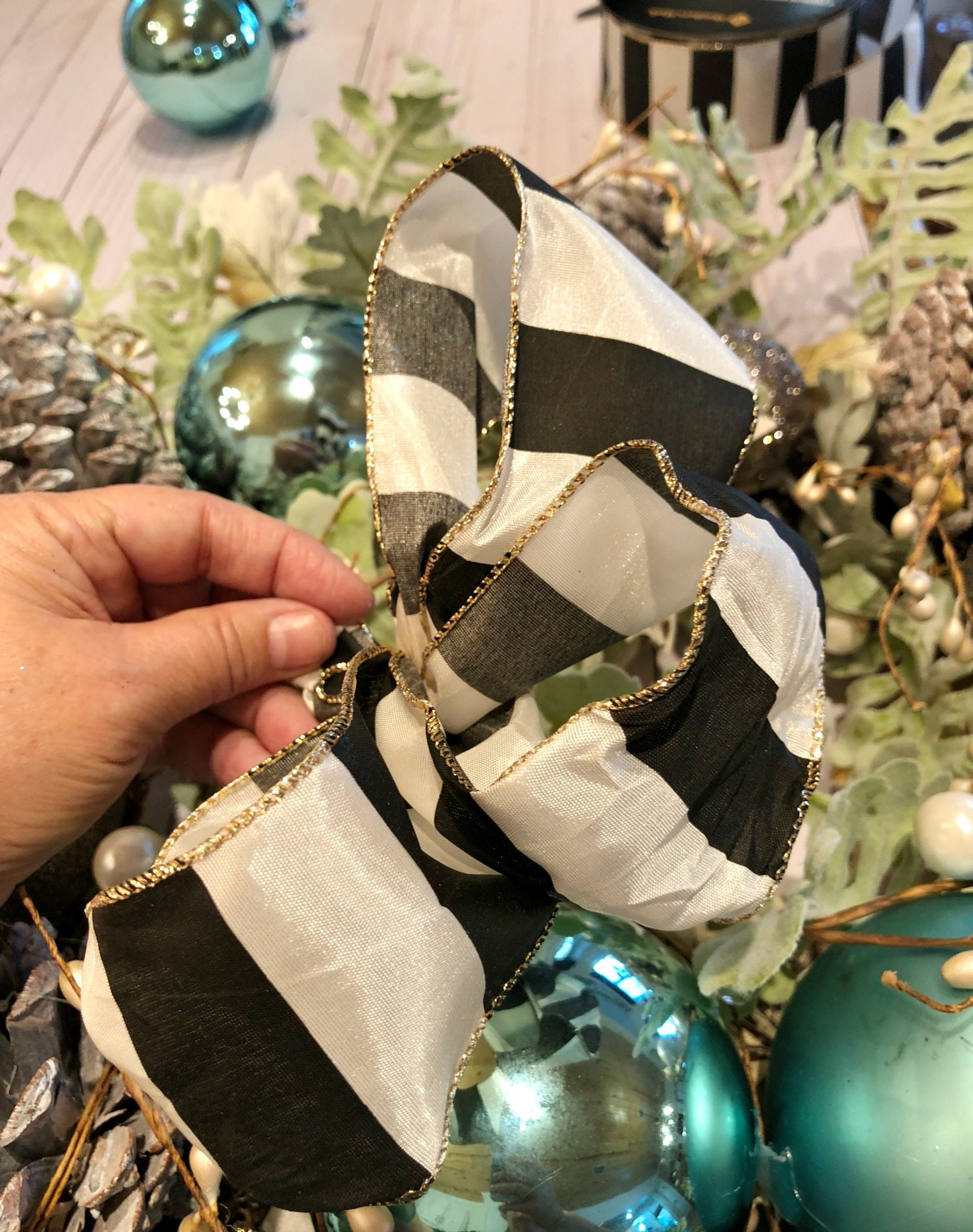 Black and white ribbon for Christmas wreath