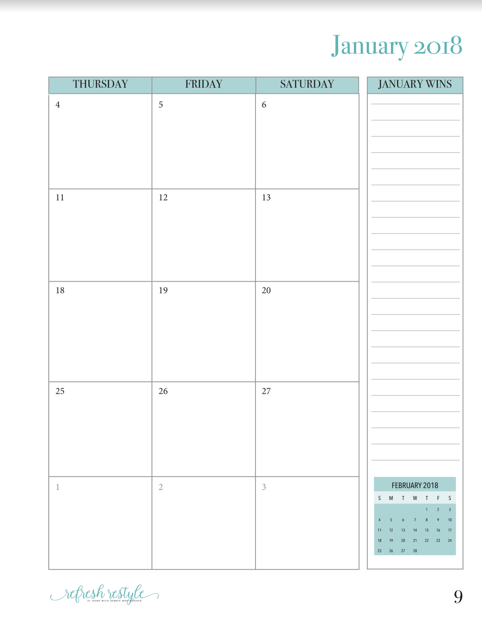 Calendar with large area and notes