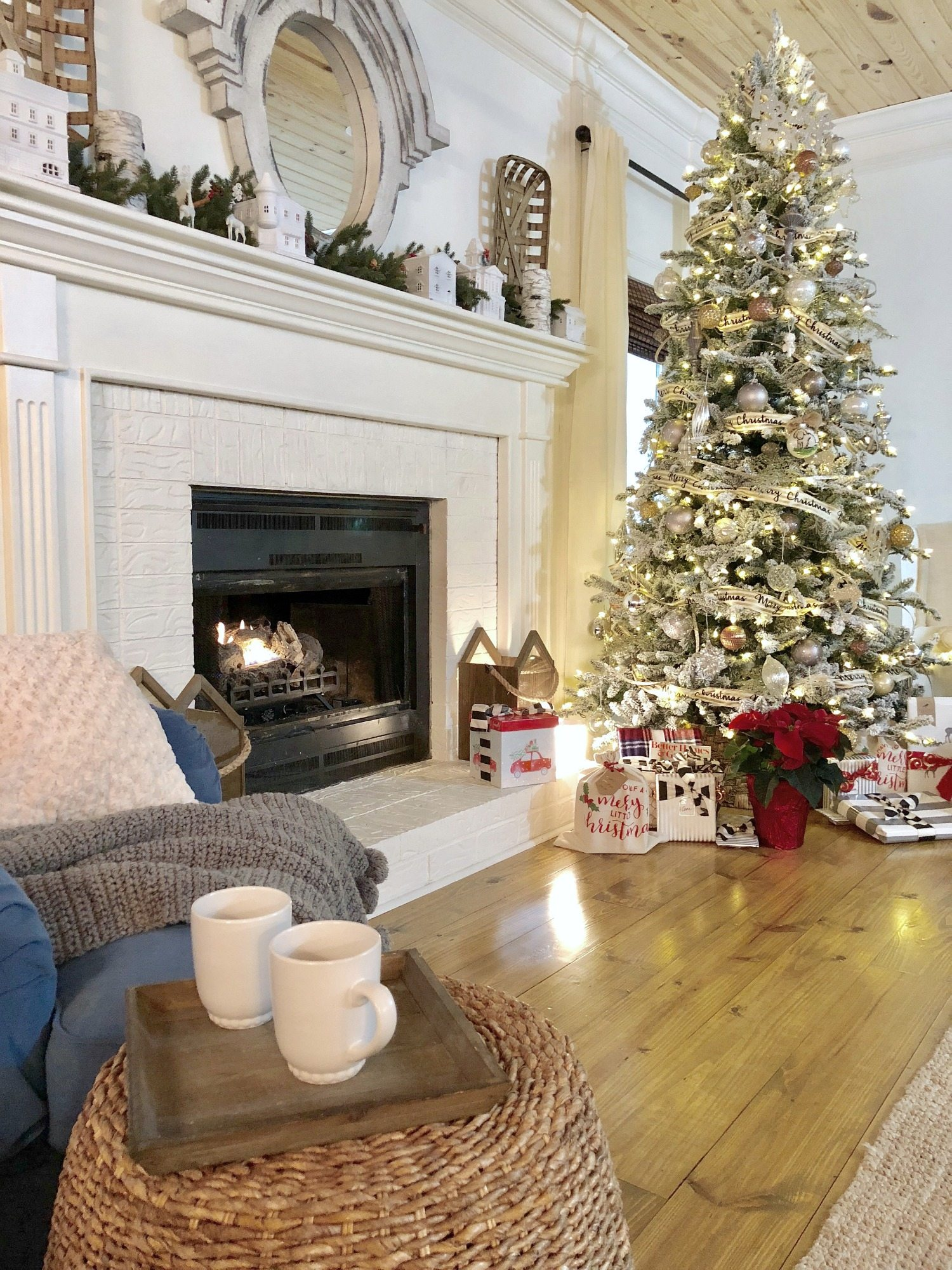 Coffee by the fire and Christmas tree