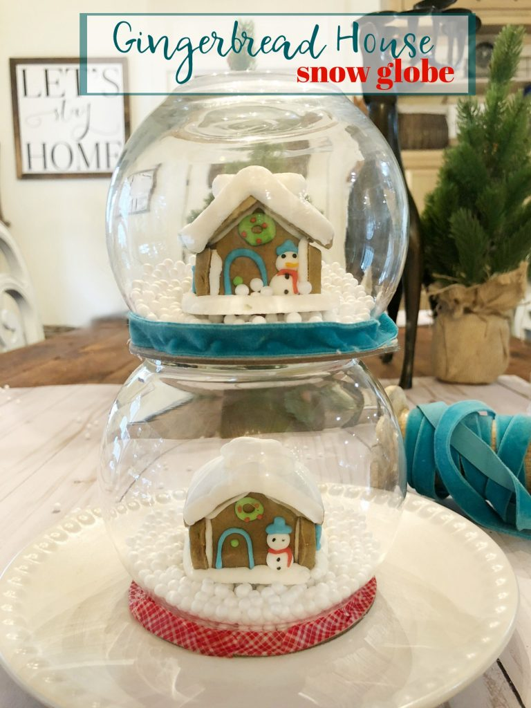 Easy to make and cheap gingerbread house snow globe