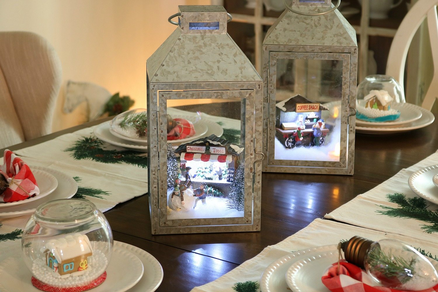 Galvanized lanterns with mini scenes
