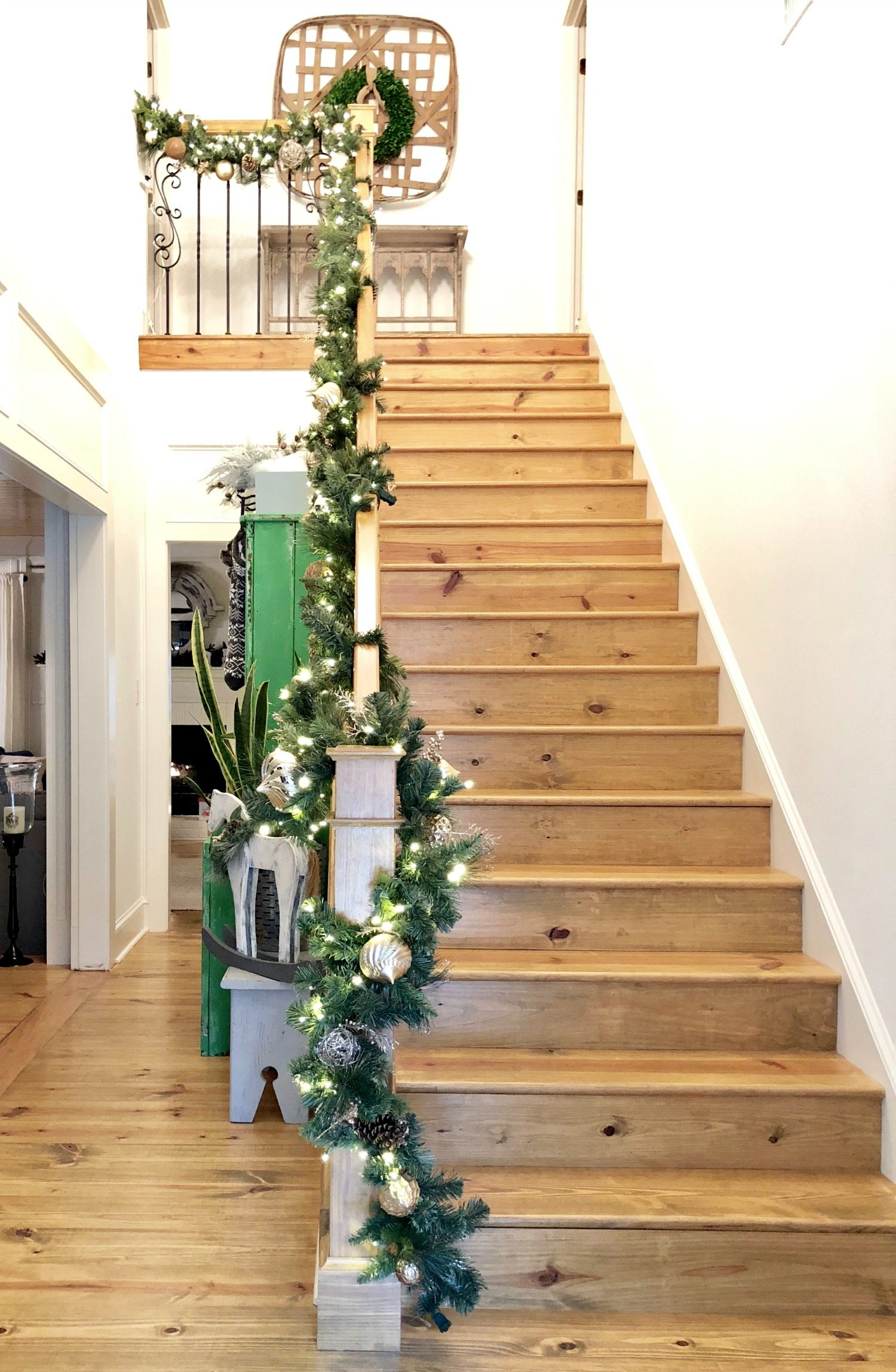 Garland wrapped staircase