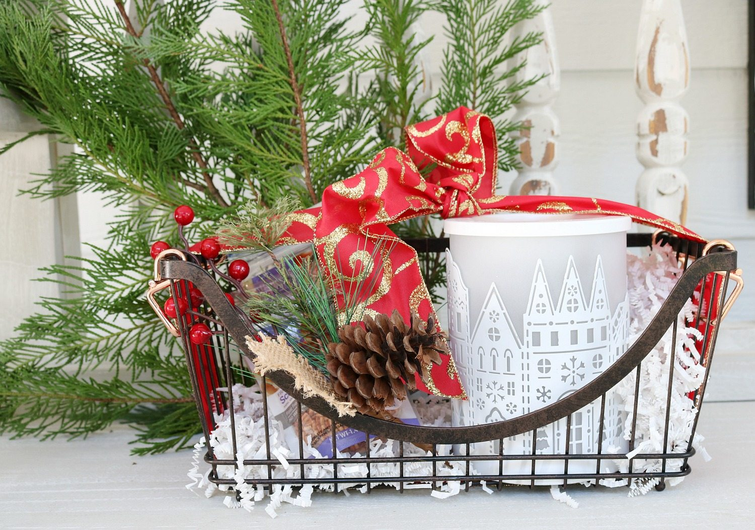 Pretty wax warm and basket gift idea