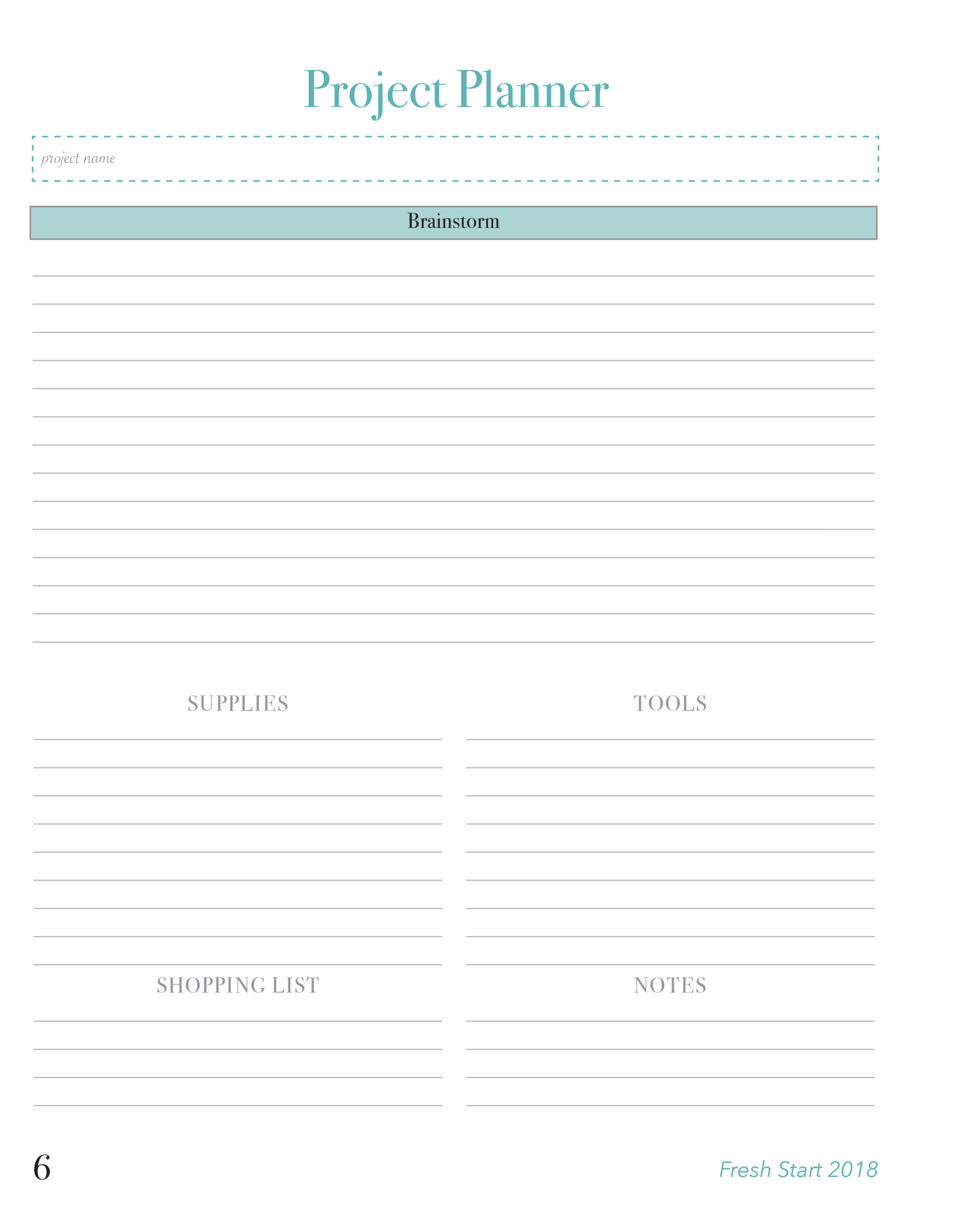 Project Planner Page