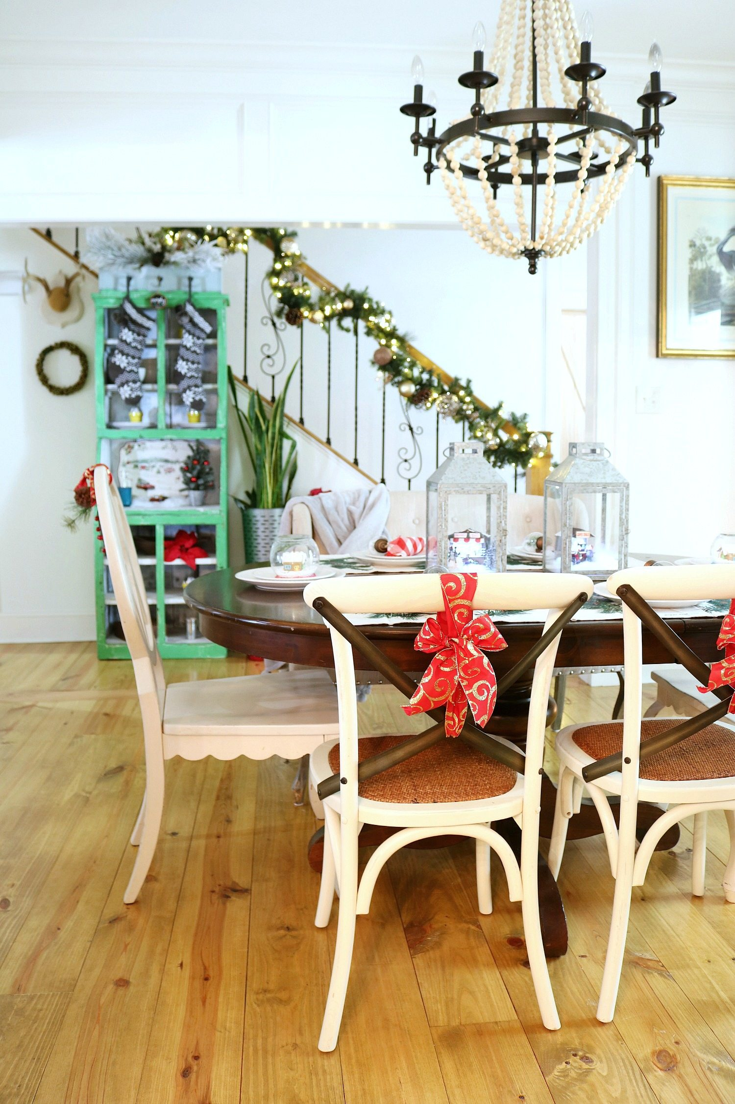 Wide plank pine floors farmhouse Christmas table