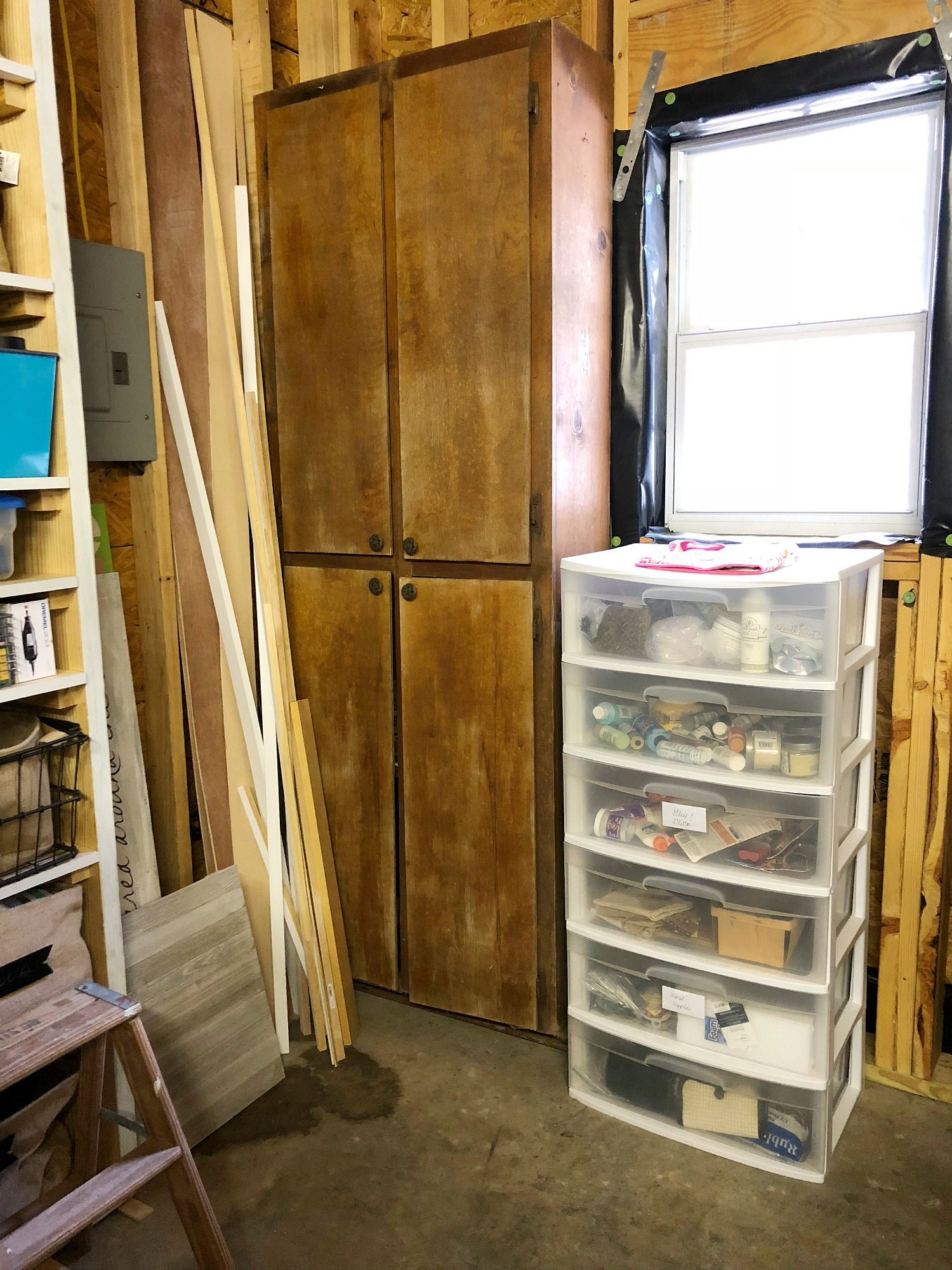 Craft storage area in garage