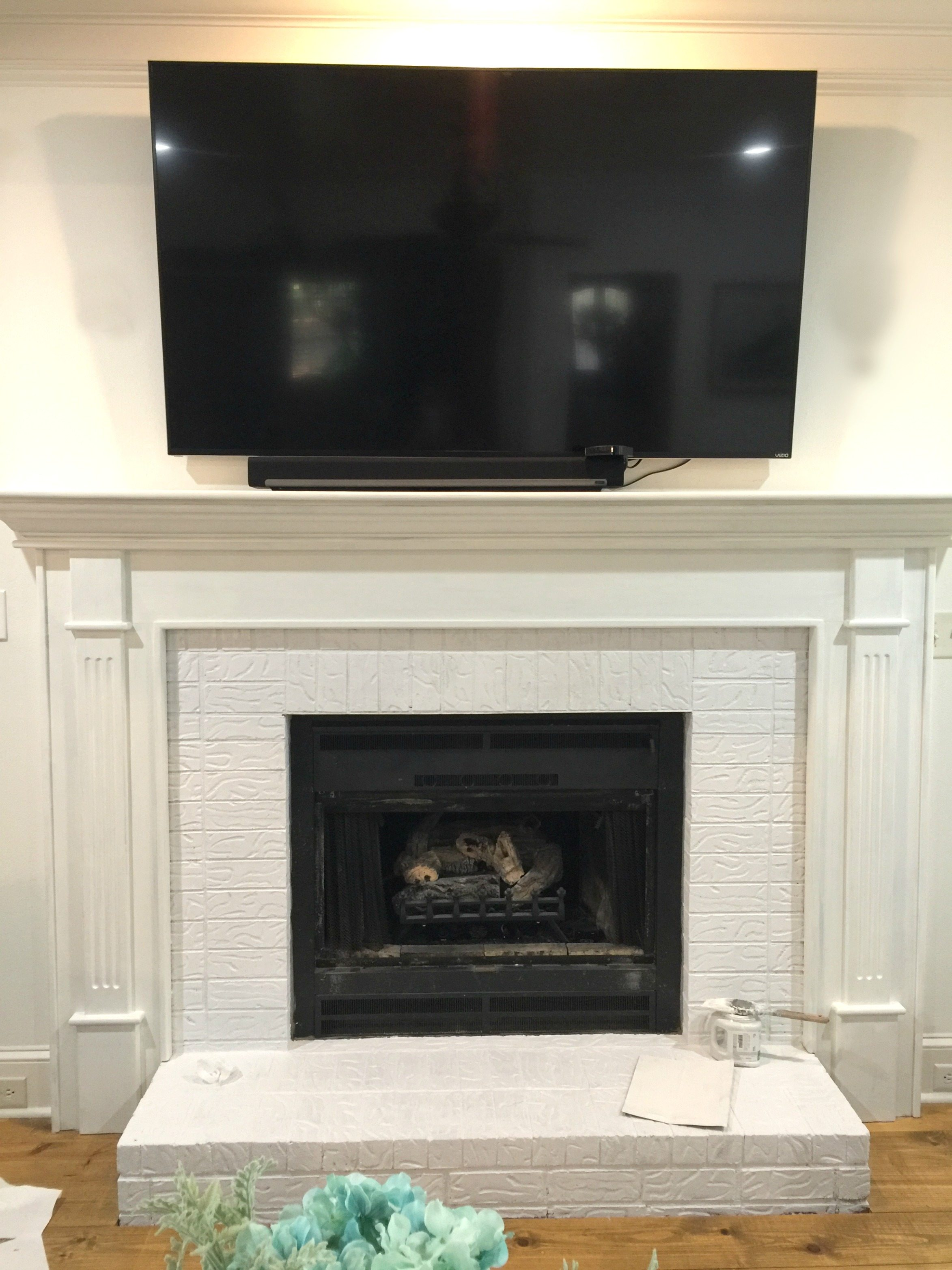 How to paint your fireplace brick mantel refresh restyle last coat of paint solutioingenieria Image collections