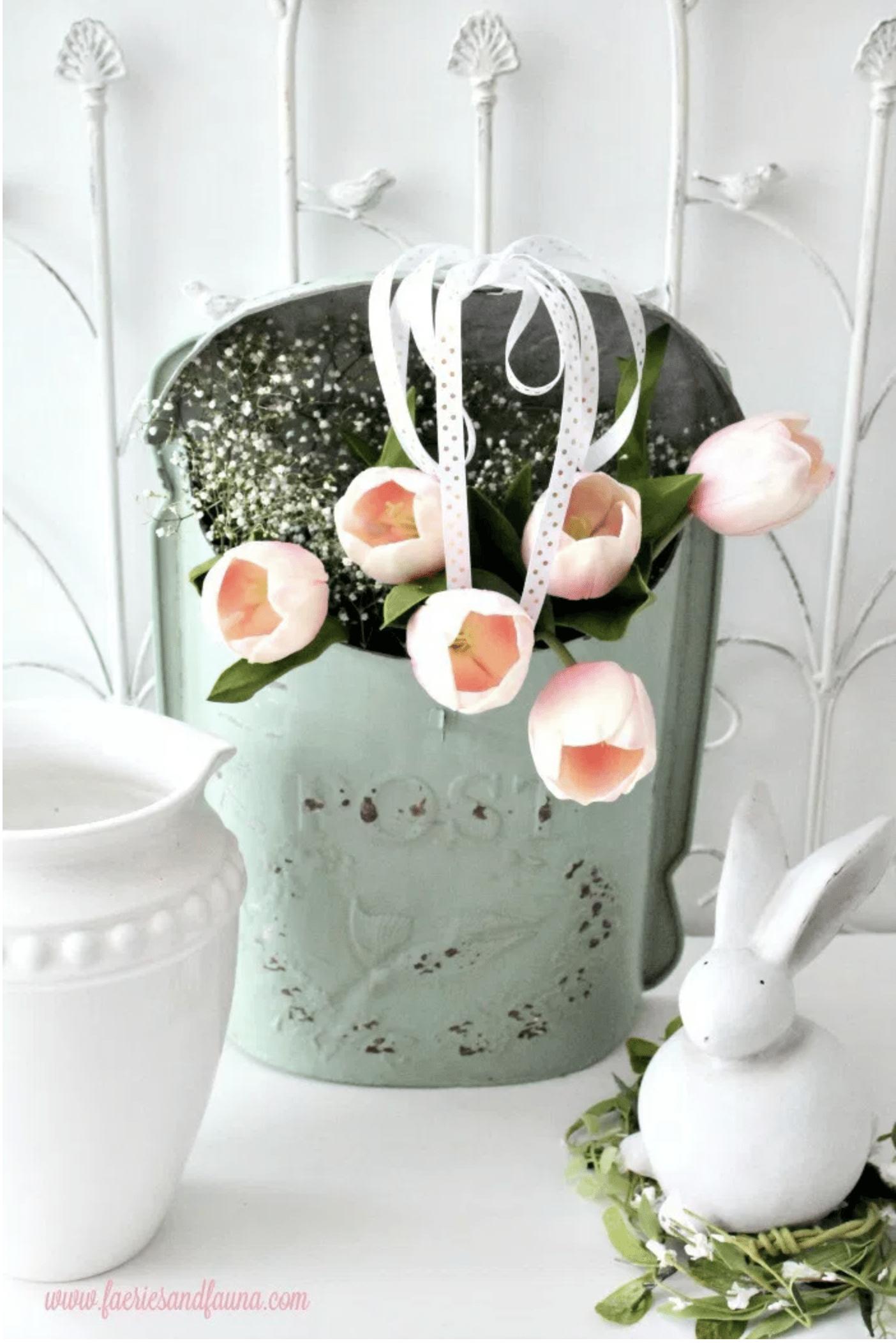 Mail box tulip arrangement