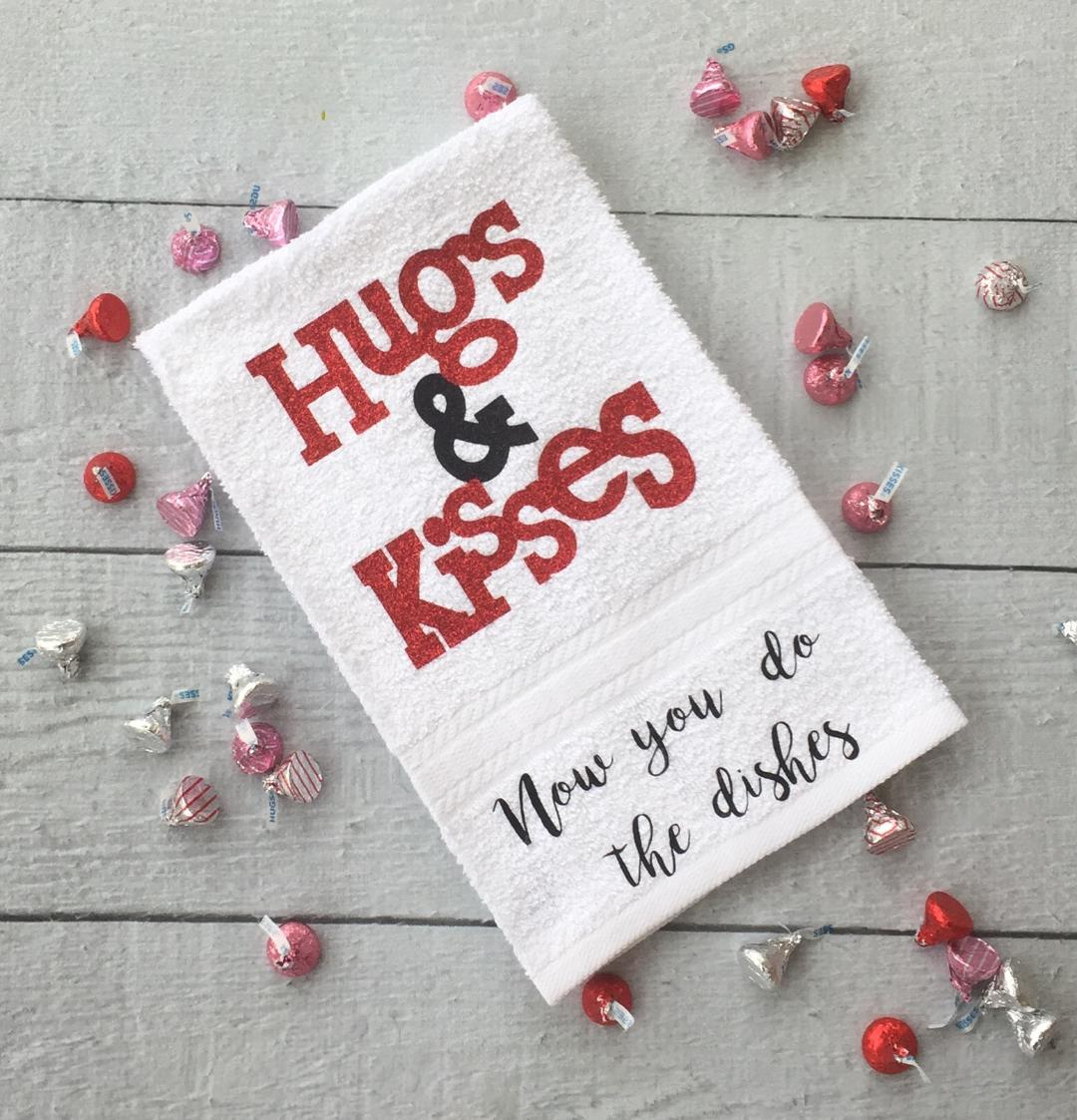 Valentine's Day towel idea Hugs & Kisses Towel