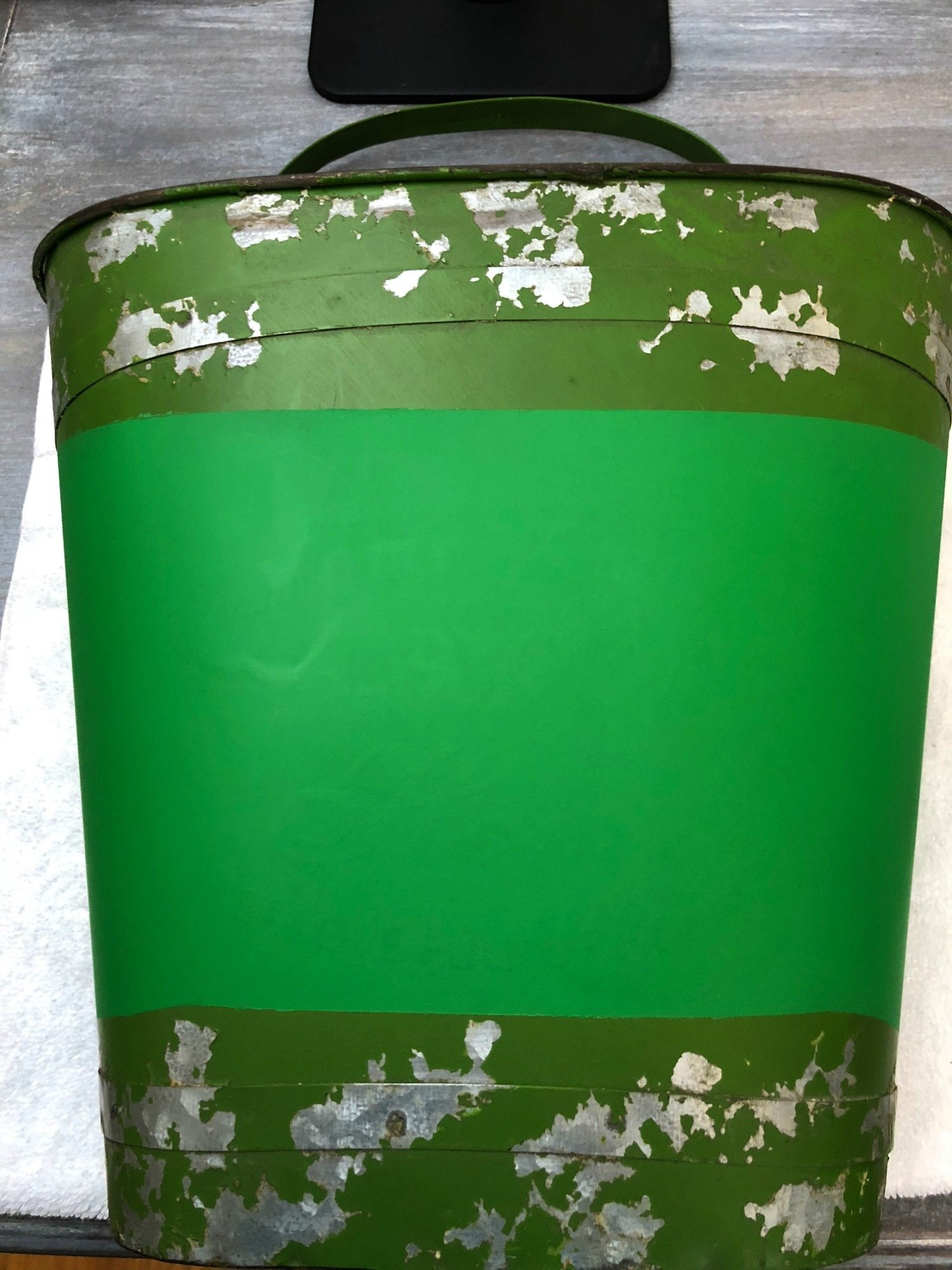 After spray paint tulip bucket