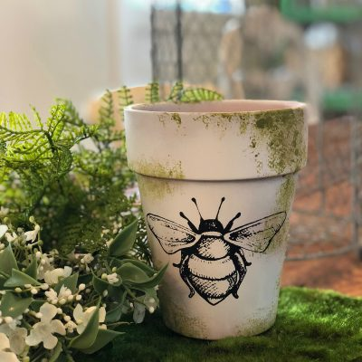 Bee clay pot makeover