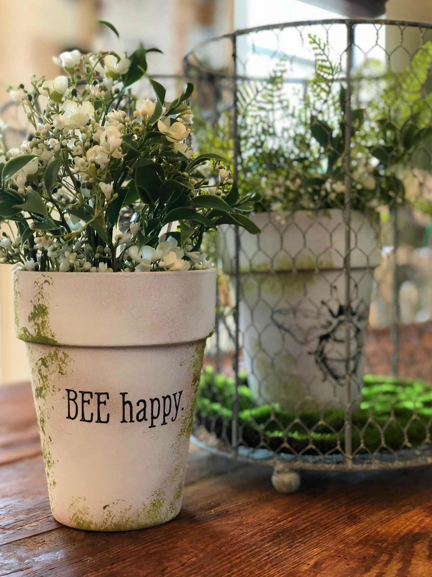 Bee inspired clay pots
