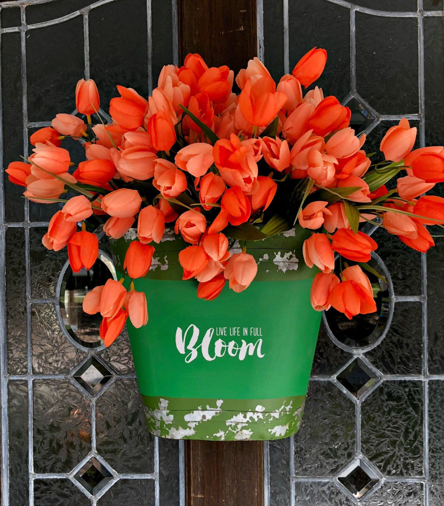 Bucket of tulips for the door