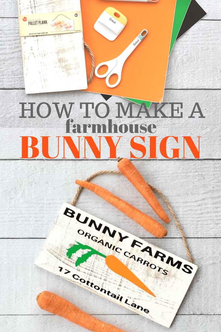 How to make a Rustic Easter Sign, this white rustic board is the perfect backdrop for this Vinyl Easter sign. Farmhouse look with whimsy.