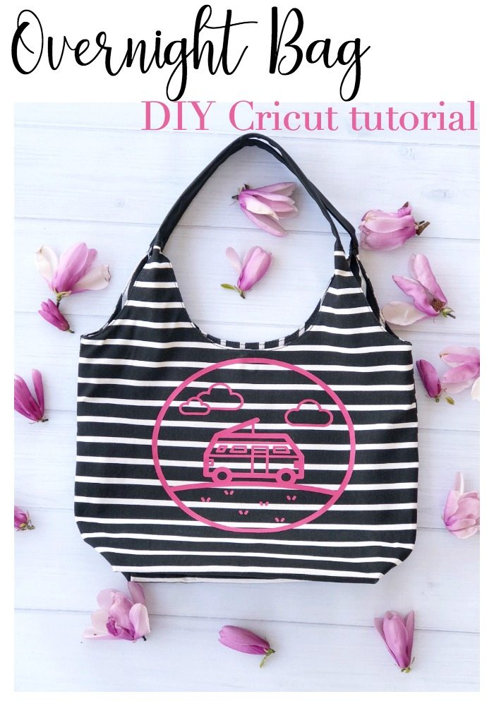 Cute Overnight Spring bag with Cricut design - Make this! DIY Cricut tutorial