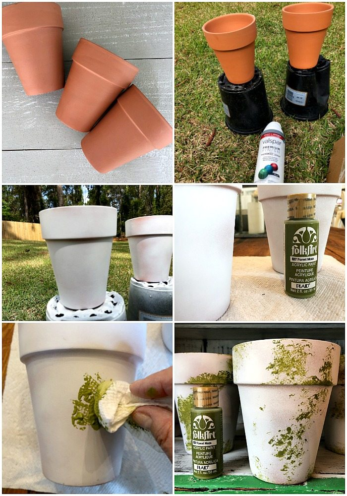 Spray paint clay pots add moss