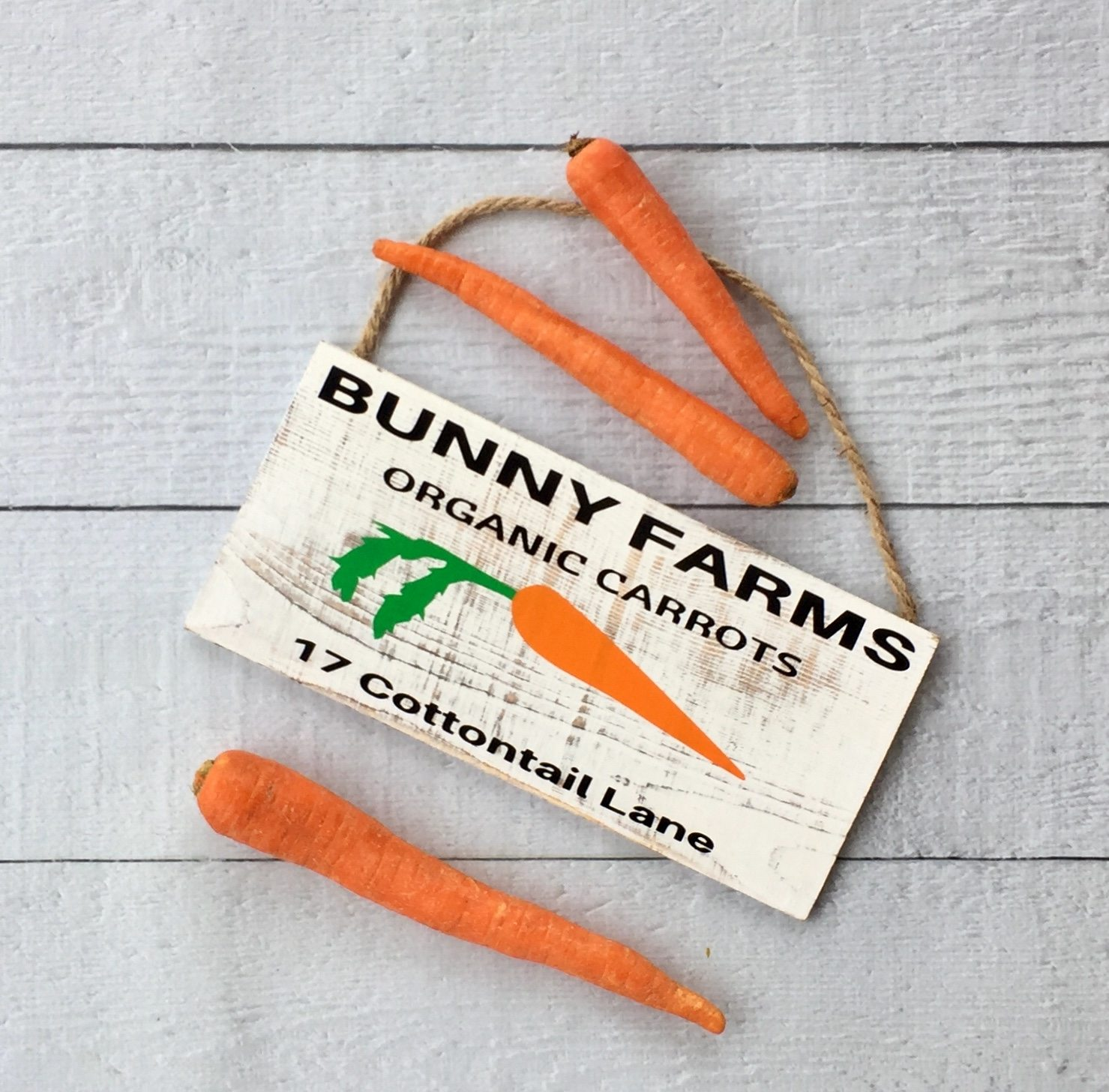 white rustic bunny sign