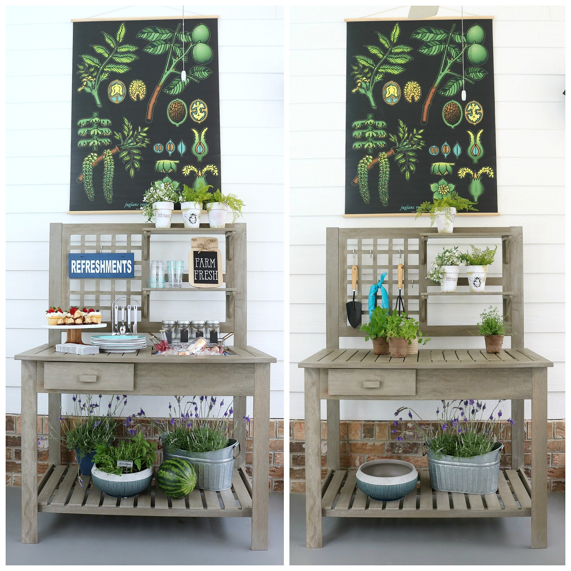 Multi-use potting bench - From planting flowers to entertaining family and friends, our newest addition to the back porch will help with both! A potting bench makes entertaining fun and planting flowers easy. The Camrose Farmhouse Potting bench from Better Homes & Gardens at Walmart #Ad #farmhouse #garden #pottingbench #rustic