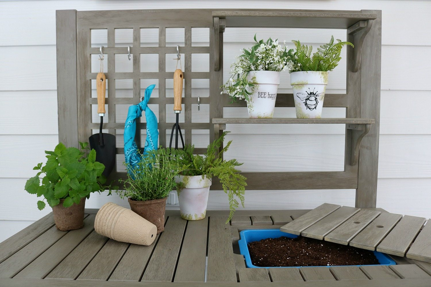 Potting bench on the back porch