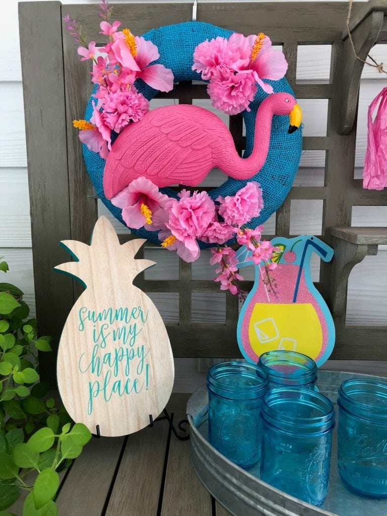 Flamingo Wreath Dollar Store Items