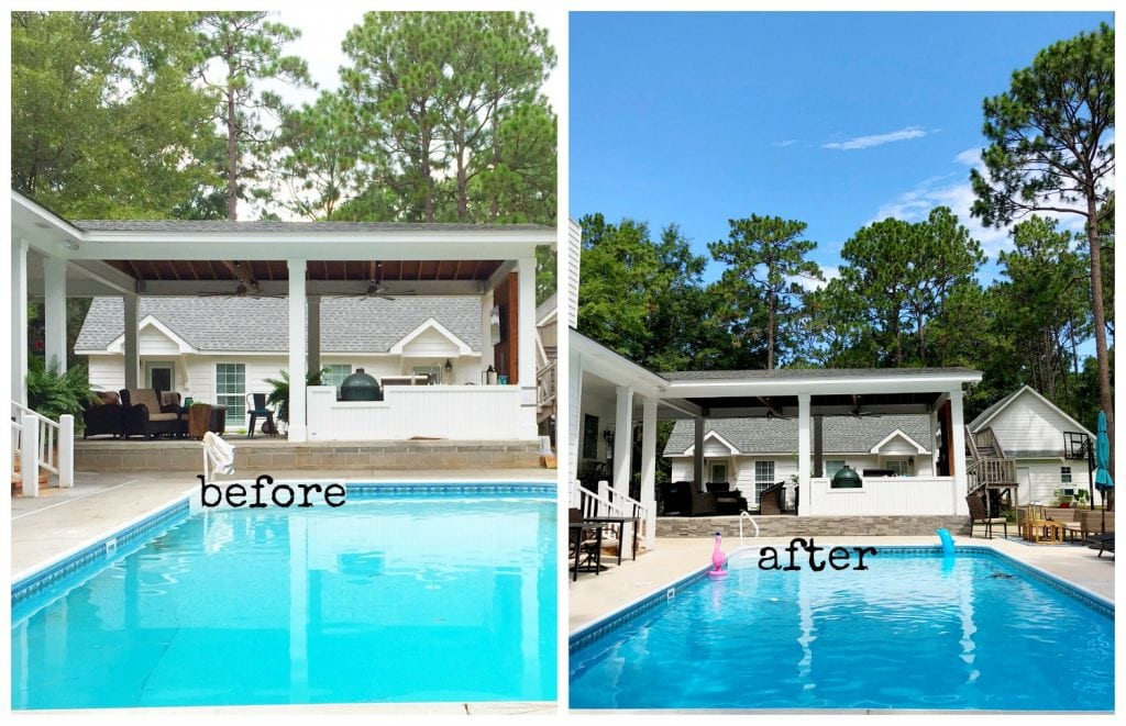 Pool side before after stone on foundation