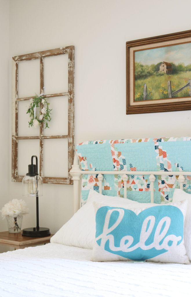 Farmhouse guest room decor, affordable, light and bright!