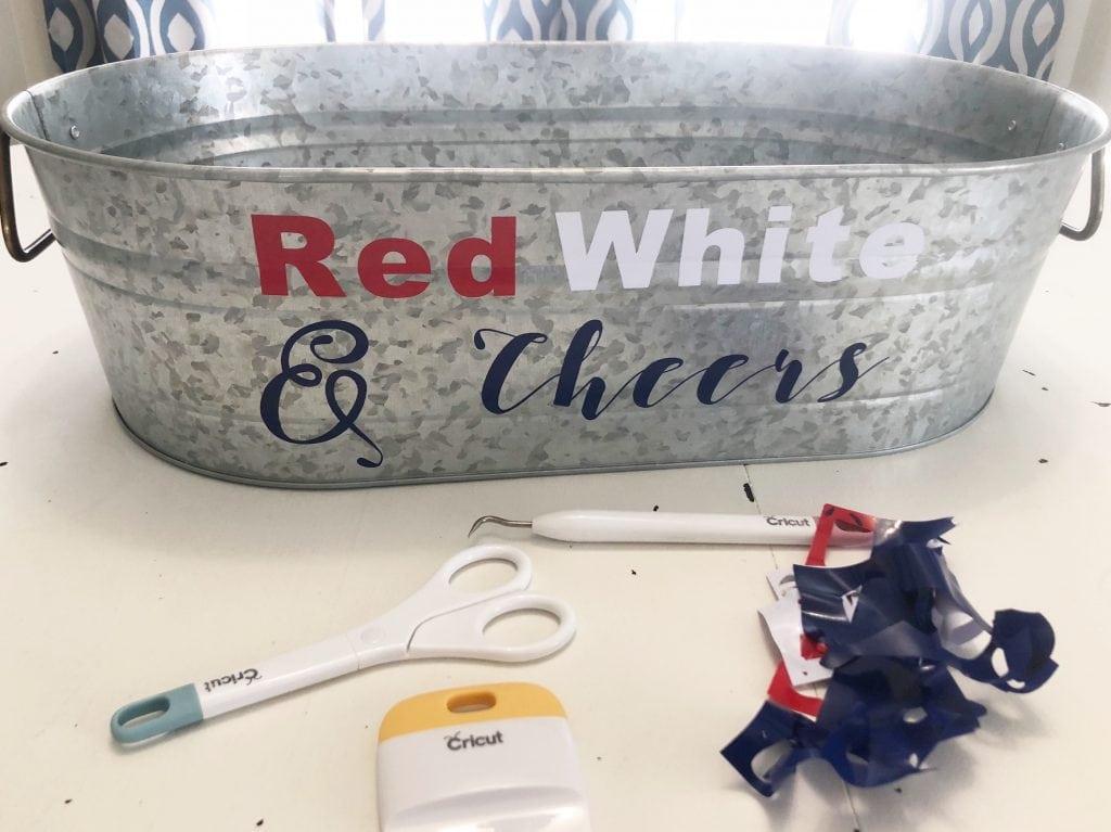 Red White Blue Galvanized Tub