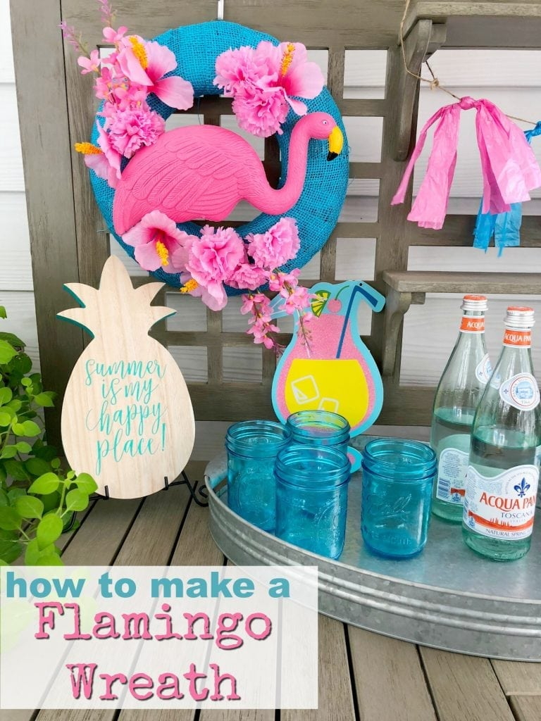 how to make a summer flamingo wreath