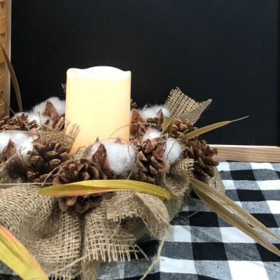Farmhouse Burlap Cotton Candle Ring