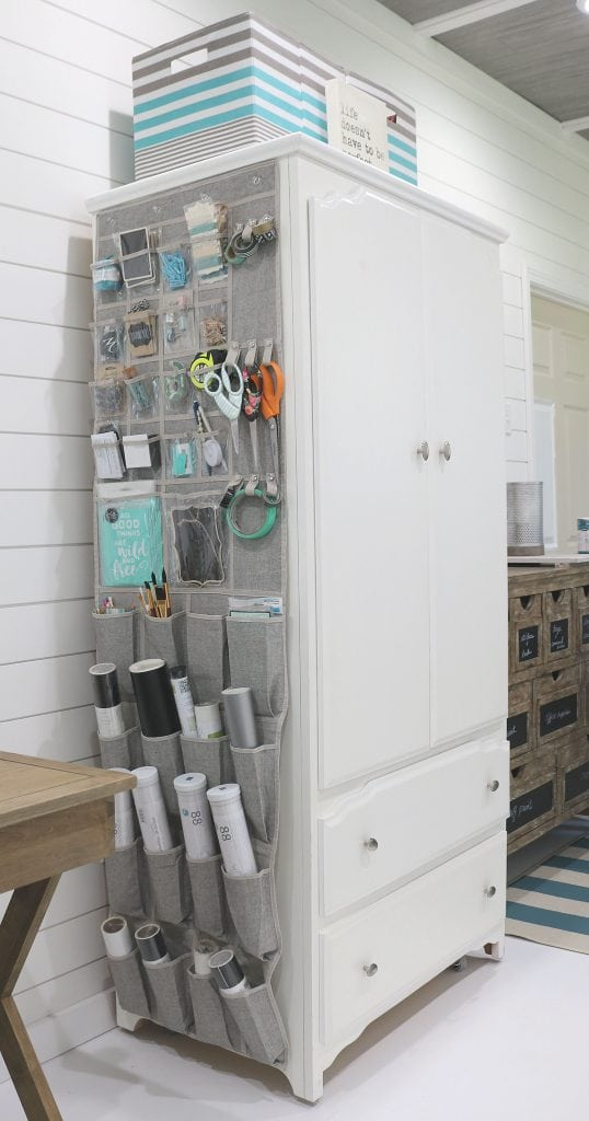 Craft Storage for home office with over the door closet organizer.