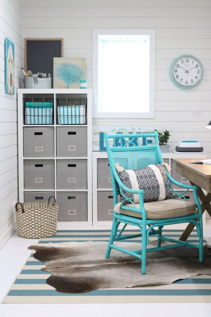 Cube storage small office, white paint and fun color create the perfect home office.