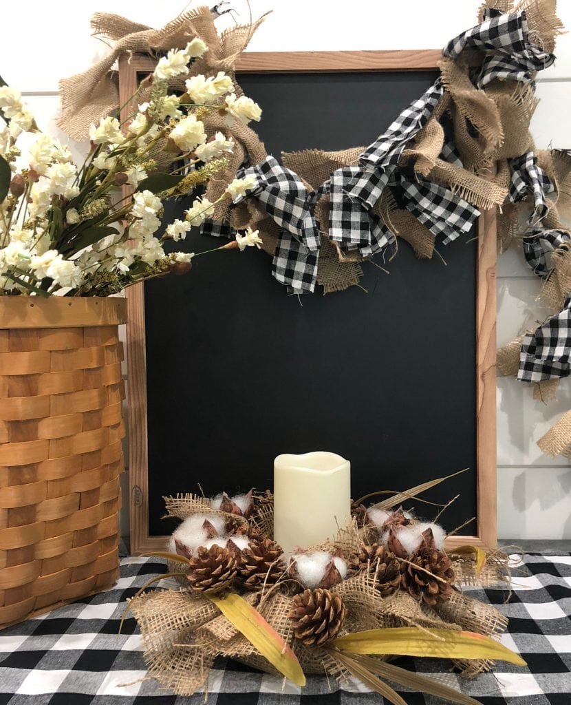 DIY Farmhouse Candle Ring - rustic idea from Dollar store items