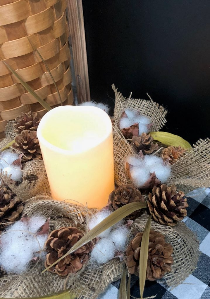 Dollar Store candle - farmhouse decor