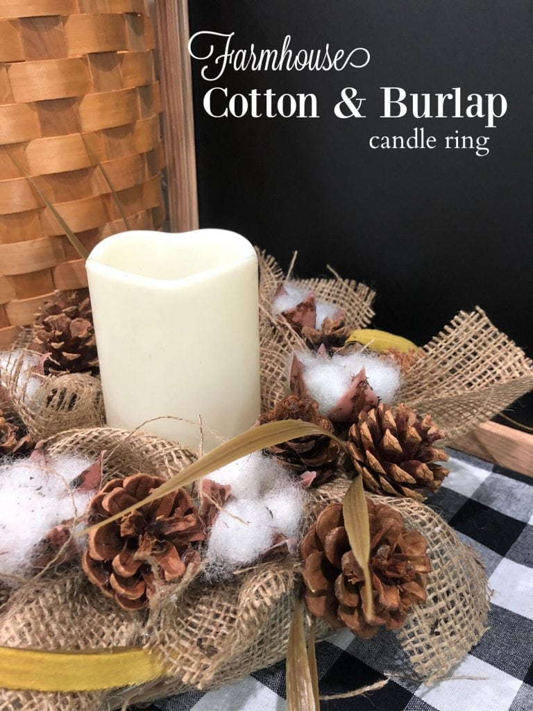 Farmhouse Cotton Burlap candle ring