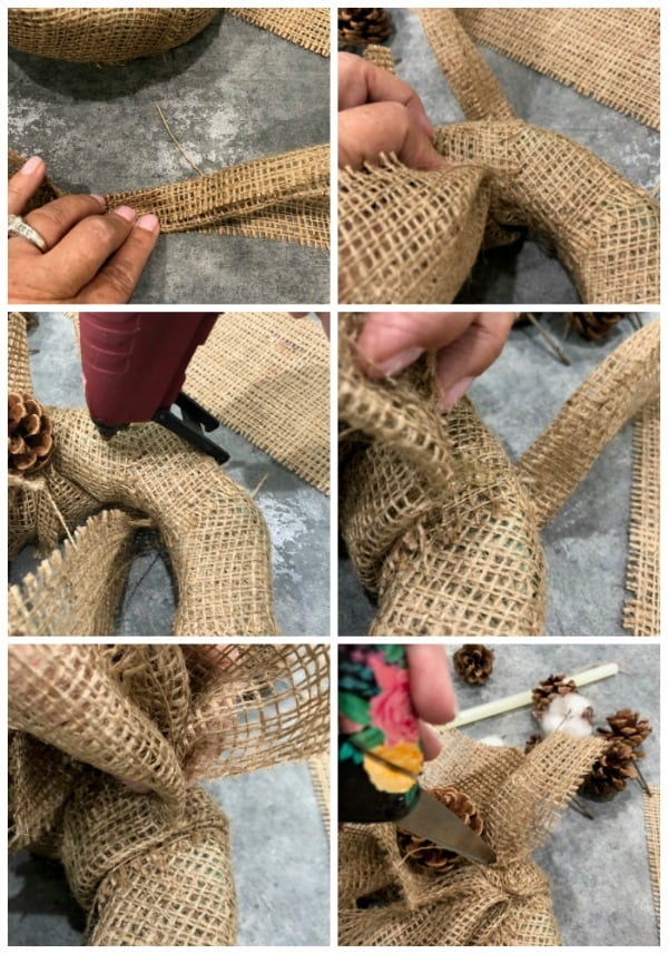 Fold and glue burlap