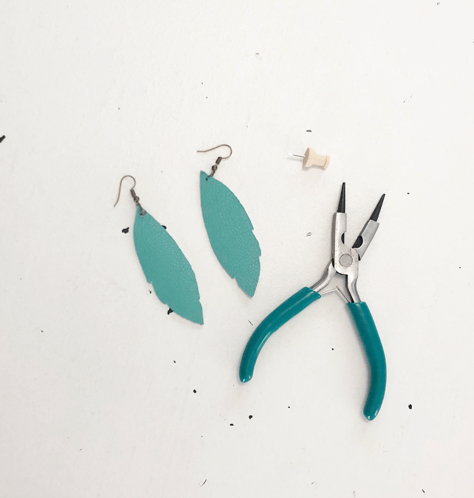 Pliers and pin for leather earrings - make these with Cricut