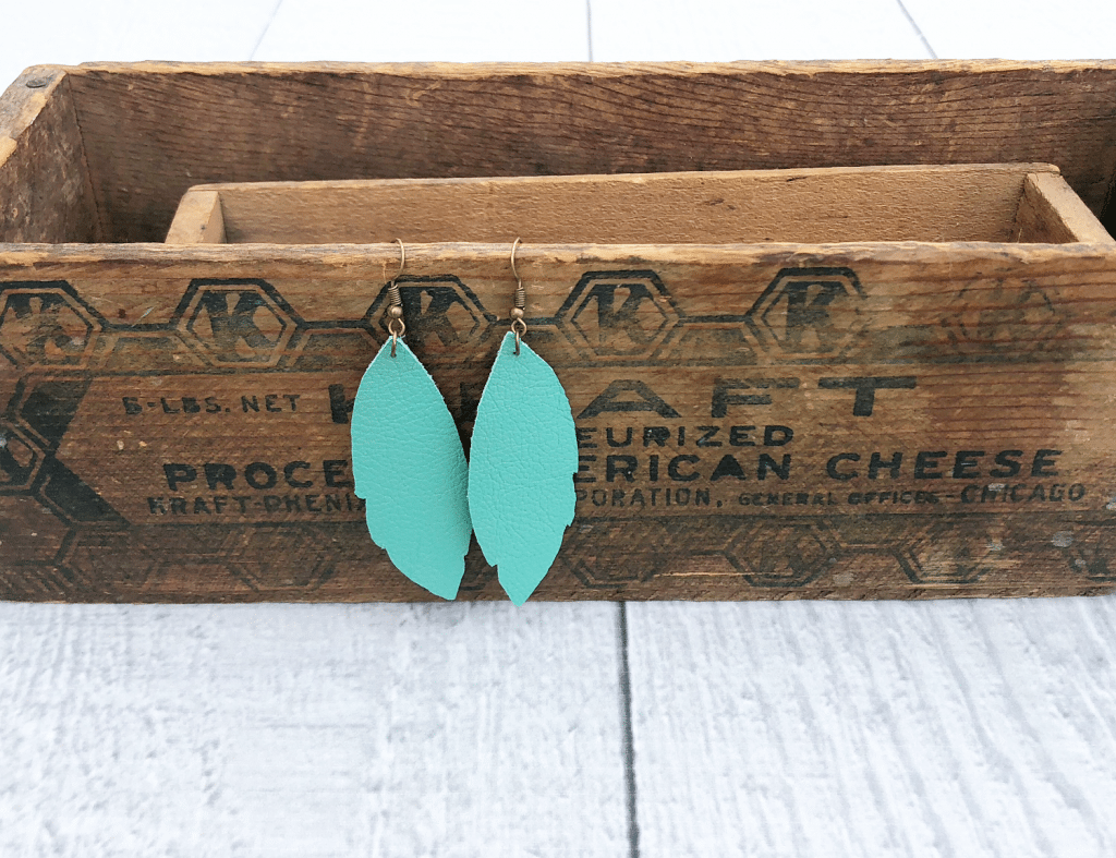 Turquoise leather earrings using Cricut.JPG easy DIY