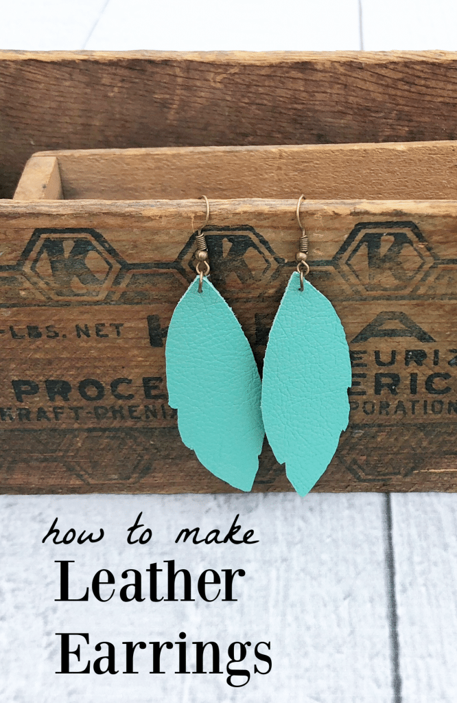 How to make leather feather earrings - a quick and easy Cricut  DIY - fun turquoise drop earrings