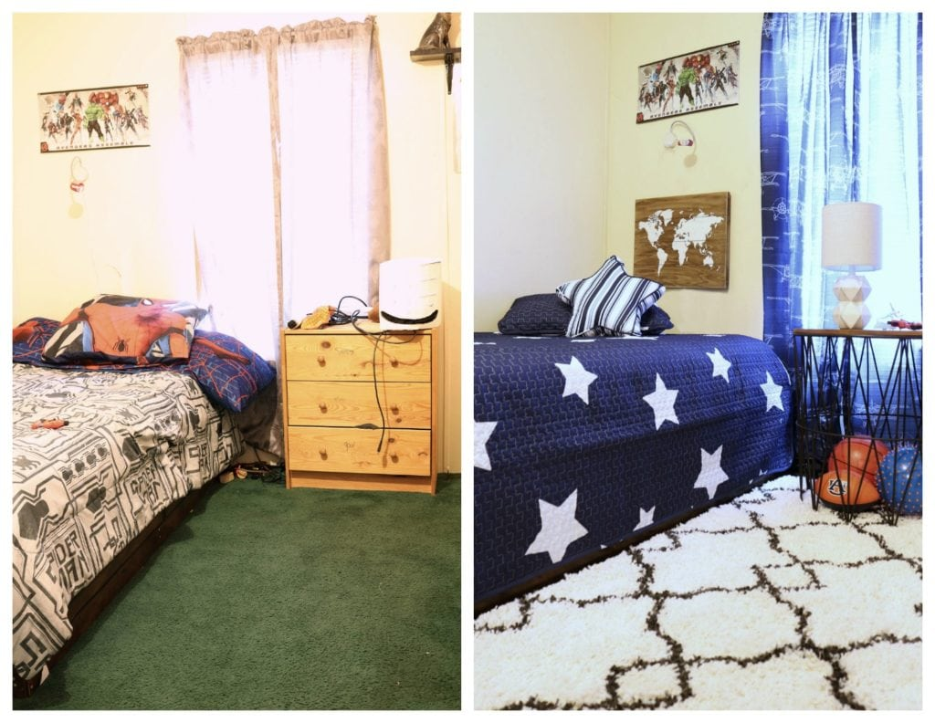Before and after boys room