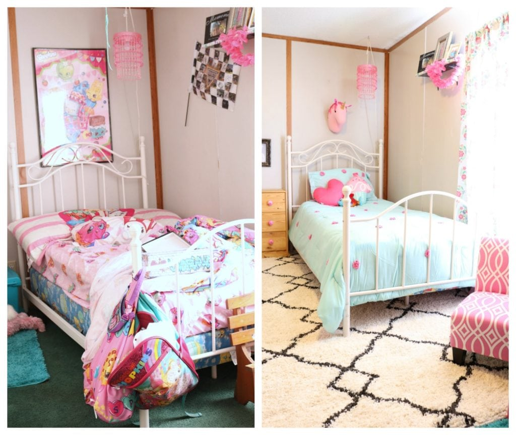 Before and after girls room