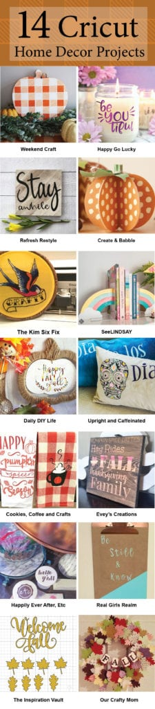 Grab the instructions here for 14 Cricut vinyl home decor projects.