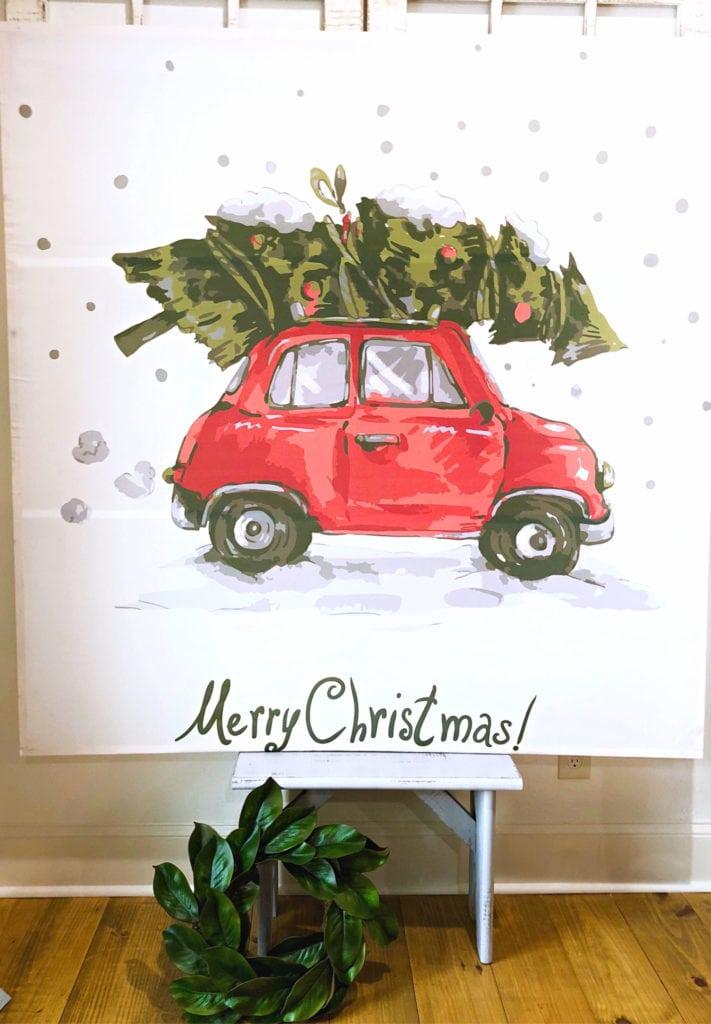 5 foot cheap art - make this DIY Christmas tree shower curtain wall decor