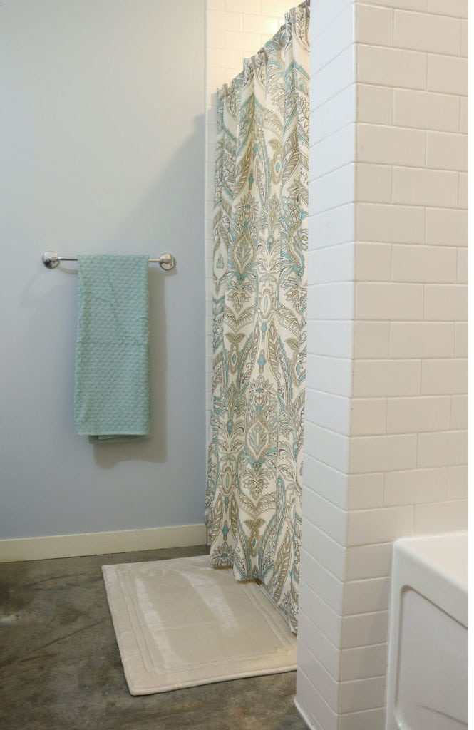 Add color with a shower curtain