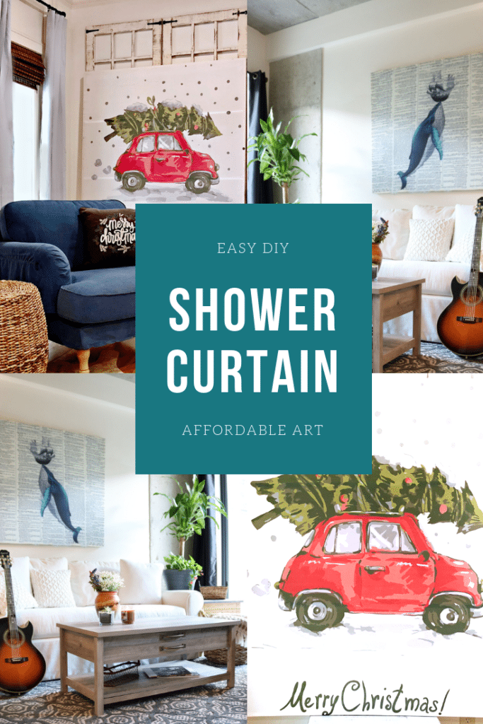 DIY easy shower curtain art using shower curtains and simple boards makes affordable wall decor
